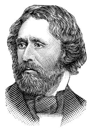 John Charles Fremont, 1813-1890, he was an American explorer, politician, soldier, fifth Territorial governor of Arizona, and United States Senator from California, vintage line drawing or engraving illustration