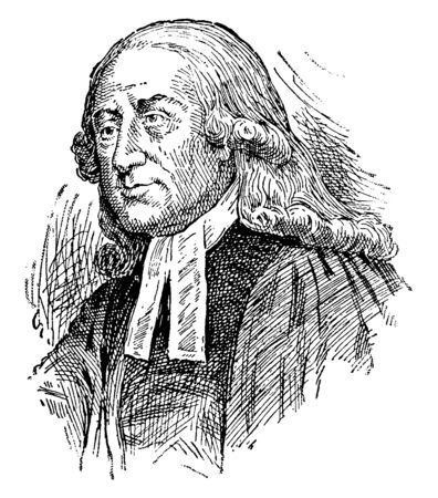 John Wesley, 1703-1791, he was an English Anglican cleric and theologian, vintage line drawing or engraving illustration
