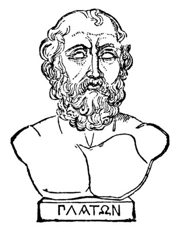 Bust of Plato, he was a philosopher in classical Greece and the founder of the academy in Athens, vintage line drawing or engraving illustration