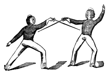 Players are playing fencing game. Both players swords are making cross and swords are facing down the earth, vintage line drawing or engraving illustration.
