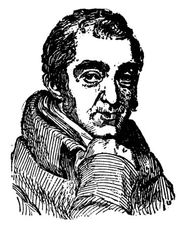 Samuel Rogers, 1763-1855, he was an English poet, vintage line drawing or engraving illustration