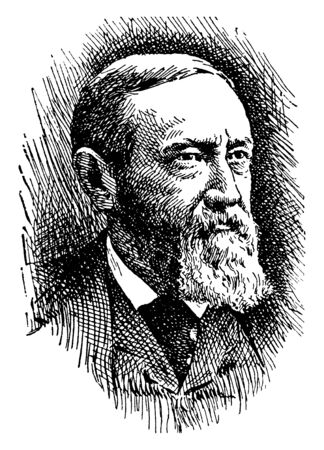 Benjamin Harrison, 1833-1901, he was an American politician, lawyer, United States senator from Indiana, and 23rd president of the United States from 1889 to 1893, vintage line drawing or engraving illustration