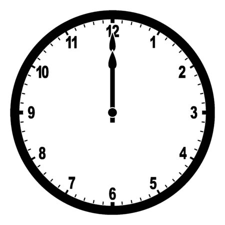 This image depicts a Clock that shows 12:00 in numerical numbers on its display, vintage line drawing or engraving illustration.