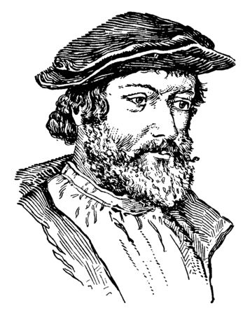 Hans Holbein, c.?1497-1543, he was a German and Swiss artist and printmaker who worked in a Northern Renaissance style, vintage line drawing or engraving illustration Иллюстрация