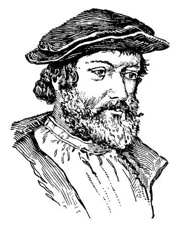 Hans Holbein, ok.?1497-1543, był niemieckim i szwajcarskim artystą i grafikiem, który pracował w stylu północnego renesansu, vintage rysowanie linii lub grawerowanie ilustracji