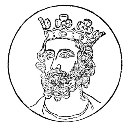 Edward II, 1284-1327, he was the king of England from 1307 to 1327, vintage line drawing or engraving illustration 일러스트