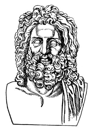 In this image The leader of all the other gods in Greek mythology. He is the god of the sky and thunder, vintage line drawing or engraving illustration. Ilustração