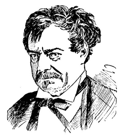 Edwin Forrest, 1806-1872, he was a prominent nineteenth-century American Shakespearean actor, vintage line drawing or engraving illustration