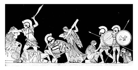 The military in this image appears to be at war. One person is shielding his life with shields. Some people are running to read their lives. Some people have fallen into that war, vintage line drawing or engraving illustration.