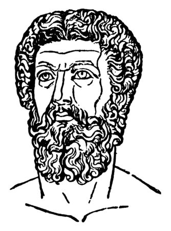 Marcus Aurelius, 121-180, he was emperor of Rome, vintage line drawing or engraving illustration Иллюстрация