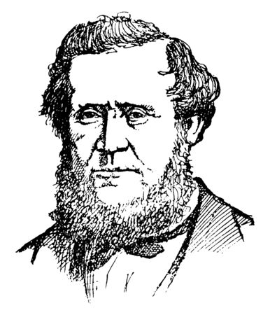 Brigham Young, 1801-1877, he was an American leader, politician, and the first governor of the Utah Territory, vintage line drawing or engraving illustration
