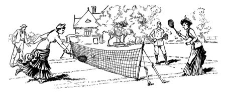 People are enjoying mixed double tennis game in an open area, vintage line drawing or engraving illustration.
