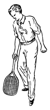 Tennis player is playing half volley stroke. He is looking down as if the ball is about to hit racket, vintage line drawing or engraving illustration.