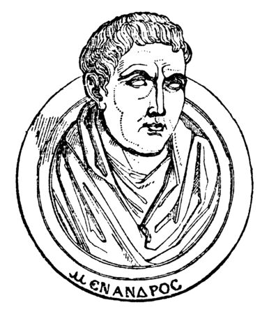 Menander, c. 34241-c. 290 BC, he was a Greek dramatist and famous representative of Athenian new comedy, vintage line drawing or engraving illustration Illusztráció