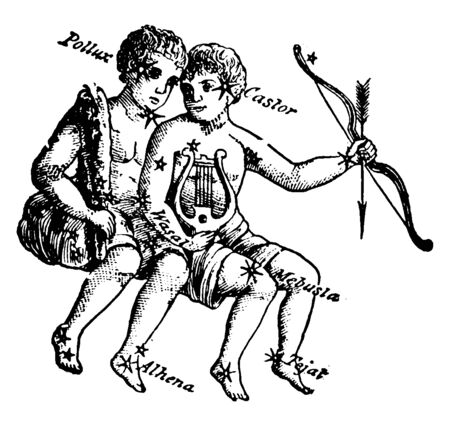 The Twins, Castor and Pollux group of stars, vintage line drawing or engraving illustration. Illustration