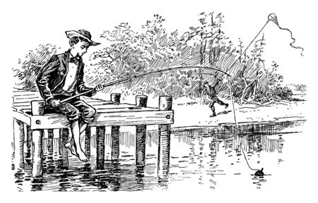A boy is sitting on wooden bridge & is trying to grab fish, vintage line drawing or engraving illustration.