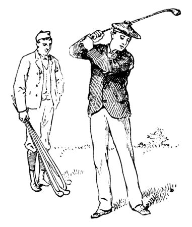 Man swinging a golf club, vintage line drawing or engraving illustration. Ilustrace