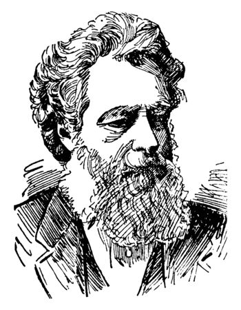 William Morris, 1834-1896, he was an English textile designer, poet, novelist, translator, and socialist activist, vintage line drawing or engraving illustration 일러스트