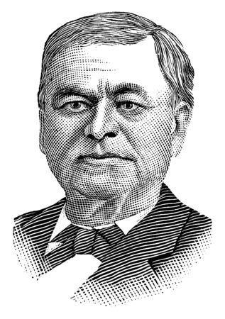 Richard J. Oglesby, 1824-1899, he was an American soldier, politician and governor of Illinois, vintage line drawing or engraving illustration 向量圖像