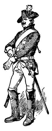 A soldier, vintage line drawing or engraving illustration