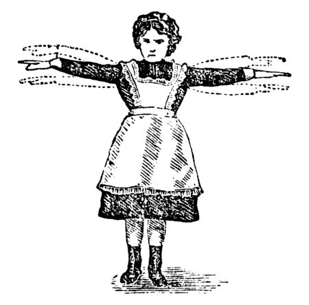 In this picture there is a young girl who is waving her arms in the air. This is a way of exercise, vintage line drawing or engraving illustration.