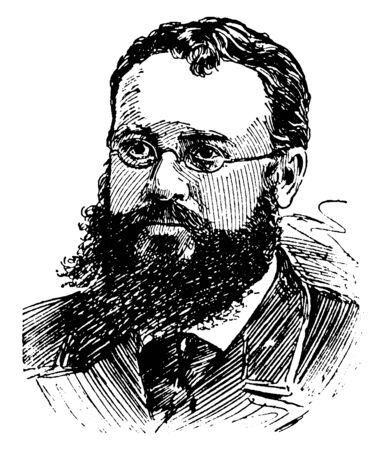 John Fiske, 1842-1901, he was an American philosopher and historian who lectured across America lecturing on scientific, philosophic, historical thoughts such as evolution, vintage line drawing or engraving illustration