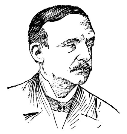 M. S. Quay, 1833-1904, he was a United States senator from Pennsylvania, vintage line drawing or engraving illustration