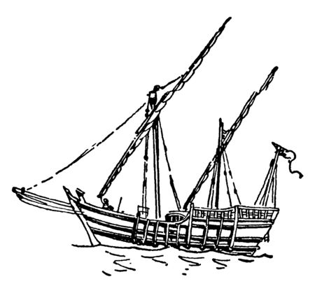 In this image this is drawing of The Nina Ship. A ship that came to America with Columbus, vintage line drawing or engraving illustration. Ilustração