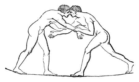 Both wrestlers try to topple each other. Both are having eye to eye contact and trying to take over the game, vintage line drawing or engraving illustration.