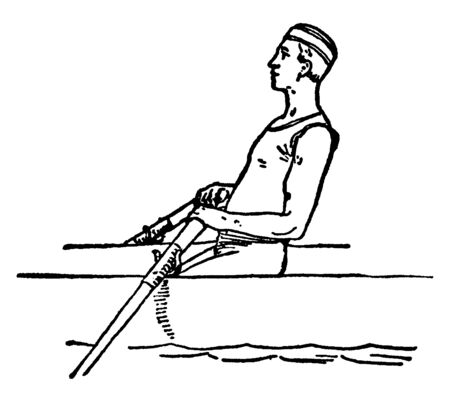 Last step & position of the man during rowing, A force is generated to move the boat after pushing against the water with the help of paddles, vintage line drawing or engraving illustration.