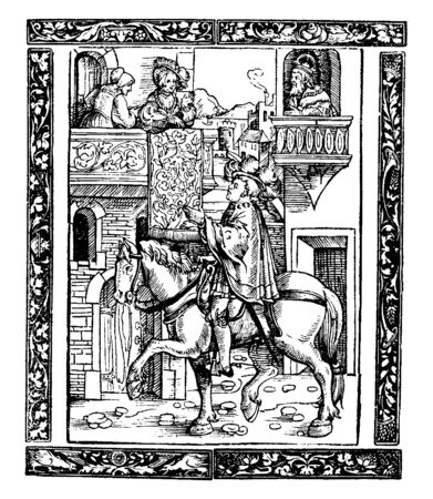 A man is riding his horse through town and talking to the people sitting in courtyard, vintage line drawing or engraving illustration. Vettoriali