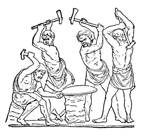 An ancient picture of Vulcan, the Roman god of fire hammering the anvil, vintage line drawing or engraving illustration.