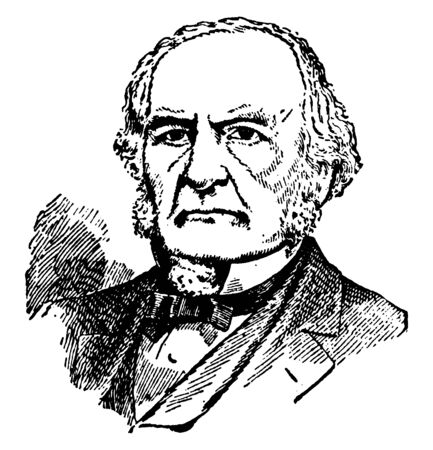 William E. Gladstone, 1809-1898, he was a British Liberal statesman, conservative politician, prime minister of the United Kingdom, chancellor of the Exchequer, and member of parliament, vintage line drawing or engraving illustration Stock fotó - 133486754