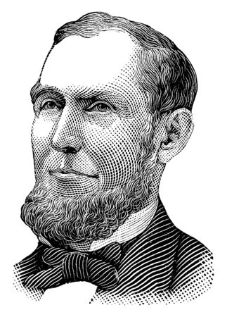 Russell Sage, 1816-1906, he was an American financier, railroad executive and Whig politician from New York, vintage line drawing or engraving illustration