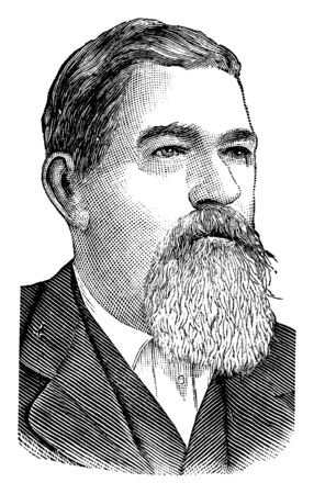 A. J. Streeter, he was candidate for president on the union labour ticket in 1888, vintage line drawing or engraving illustration Stock fotó - 133486779