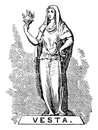 In this frame a woman is standing with a torch in her hand and called it the god of fire, vintage line drawing or engraving illustration.
