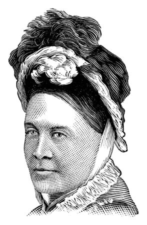 Mrs. Parnell,  she was a supporter of the liberty of Ireland and an active worker in the Irish National League, vintage line drawing or engraving illustration 向量圖像