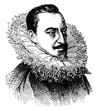 Spenser, 1552-1599, he was an English poet, best known for The Faerie Queene, vintage line drawing or engraving illustration Stock fotó - 133486793