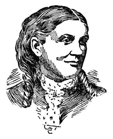 Lucy Larcom, 1824-1893, she was an American poet and author, vintage line drawing or engraving illustration Stock fotó - 133486799