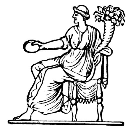 This is A Roman goddess of blossoming flowers. She is sitting on her throne & she has holding lot of flowers in her hand, vintage line drawing or engraving illustration.