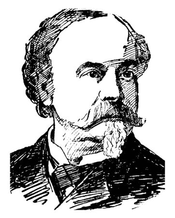 William Wetmore Story, 1819-1895, he was an American sculptor, art critic, poet, and editor, vintage line drawing or engraving illustration Stock fotó - 133486817