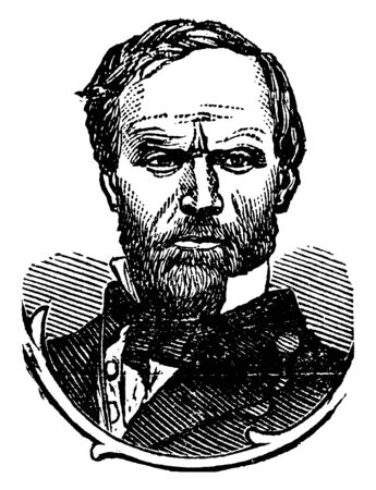 General William Tecumseh Sherman, 1820-1891, he was an American soldier, businessman, author and a general in the union army during the American civil war, vintage line drawing or engraving illustration Stock fotó - 133486834