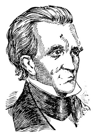 James Polk, 1795-1849, he was the eleventh president of the United States, speaker of the house of representatives and governor of Tennessee, vintage line drawing or engraving illustration Stock fotó - 133486882