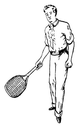 Player are holding tennis racket and showing correct posture of forehand stroke. One of his legs is forward and he is looking straight, vintage line drawing or engraving illustration. Illustration