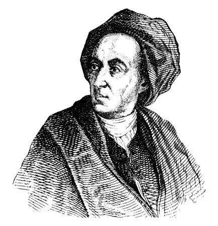 Alexander Pope, 1688-1744, fu un poeta inglese del XVIII secolo, famoso per i suoi versi satirici e per la sua traduzione di Omero e per il suo uso del distico eroico, disegno dell'annata o illustrazione incisione
