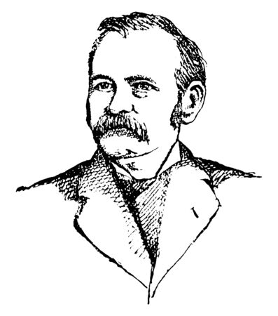 John L. Routt, 1826-1907, he was an American politician and governor of Colorado, vintage line drawing or engraving illustration Stock fotó - 133486884