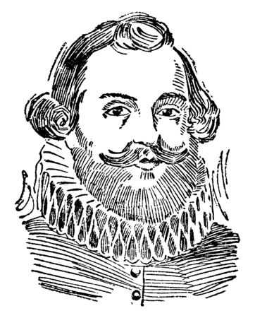Miles Standish, c. 1584-1656, he was an English military officer, vintage line drawing or engraving illustration Stock fotó - 133486886
