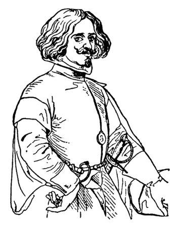 Diago Rodrigues de Silva y Velasquez, 1599-1660, he was a Spanish painter, vintage line drawing or engraving illustration Stock fotó - 133486887