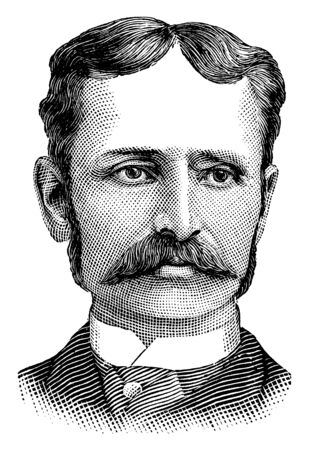 Professor S. Stone Wiggins, 1839-1910, he was a Canadian weather and earthquake predictor, vintage line drawing or engraving illustration Ilustrace