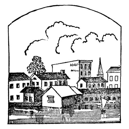 The structures of all houses are same. At the left side, a house has 4 windows that are the equal distance. The entire houses are adjacent to each other. This scene looks like a village, vintage line drawing or engraving illustration. Ilustração